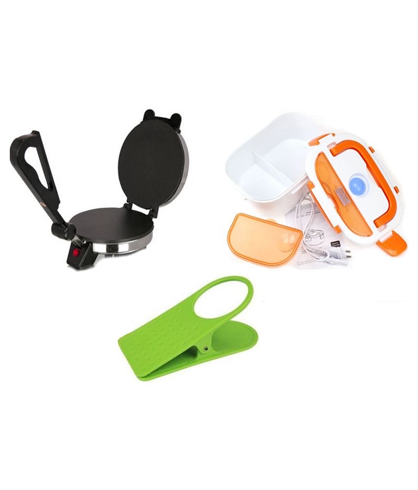 Tulsi Combo Of Roti Maker With Electric Lunch Box and Clip Holder
