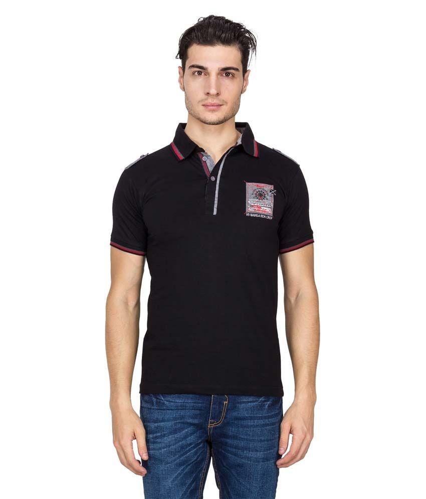 V9 Black Half Sleeves Basic Polo T-shirt