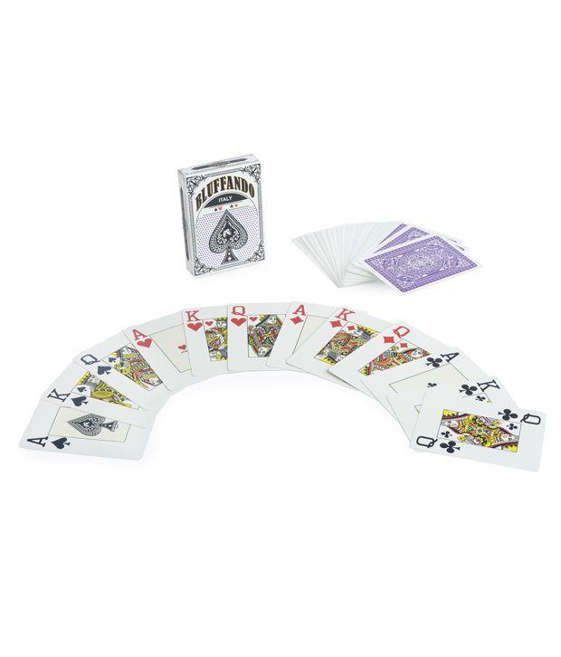1 Bluffando - Purple Bluffando Texas Holdem Plastic Poker Playing Cards and 1 Card Shuffler & Freebie: 2 Decks of Fournier Playing Cards