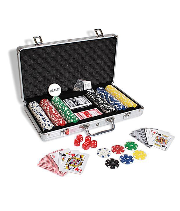 1 Casinoite 300 Diced Poker Chips Set Card Shuffler & Freebie: 2 Decks of Fournier Playing Cards