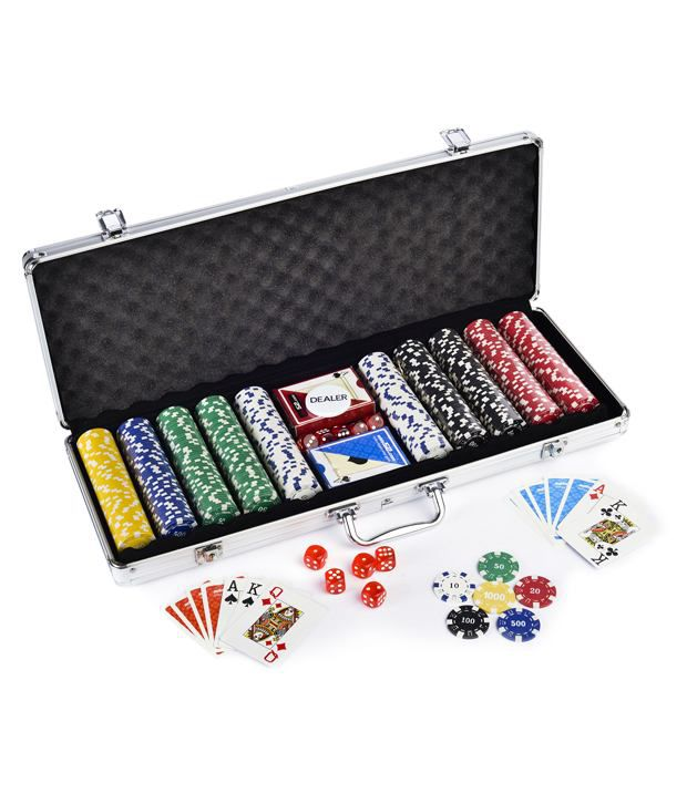 1 Casinoite 500 Pcs Diced Poker Chips Set With Denomination Card Shuffler & Freebie: 2 Decks of Fournier Playing Cards