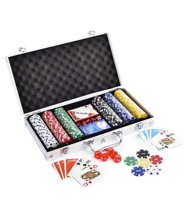 1 Casinoite Adda52 300 Pcs Poker Chips Set Card Shuffler & Freebie: 2 Decks of Fournier Playing Cards