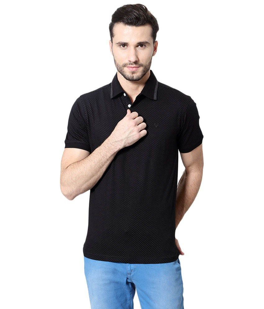Allen Solly Black Solid Casual Polo T Shirt