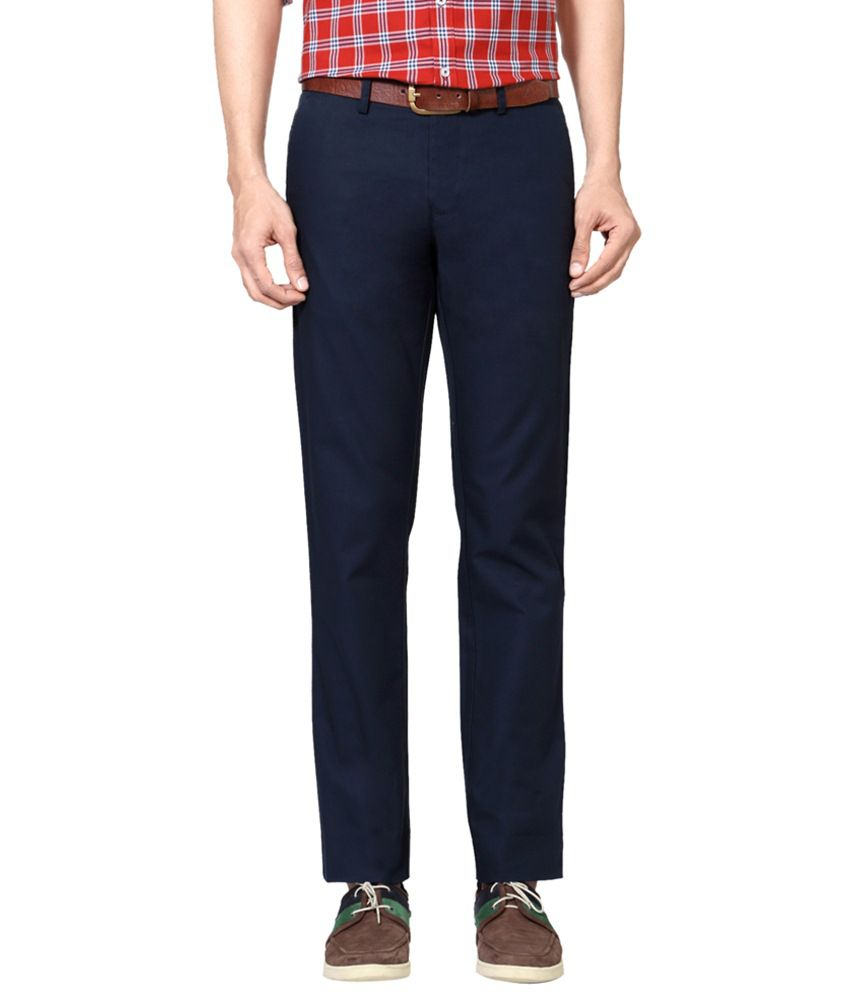 Allen Solly Navy Blue Casual Trousers