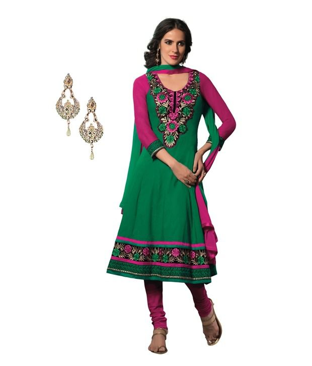 Fabdeal combo of green and pink cotton dress materials - Combination of green and pink ...