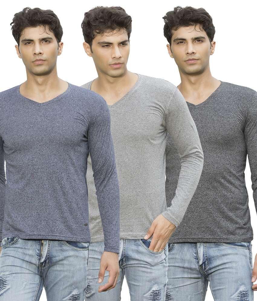Maniac Multicolour Cotton Blend Basic T-shirt - Pack Of 3