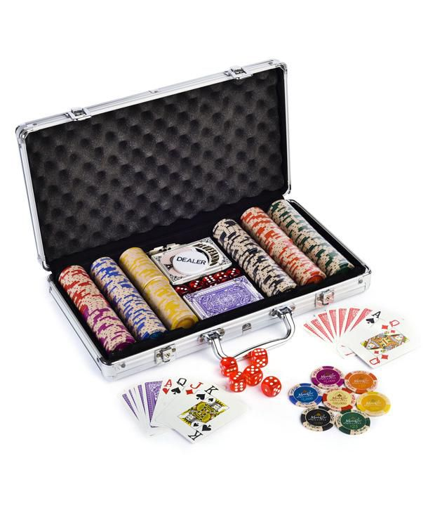 Monte Carlo Clay Poker Chips Set 300 & Freebie: 2 Decks of Fournier Playing Cards
