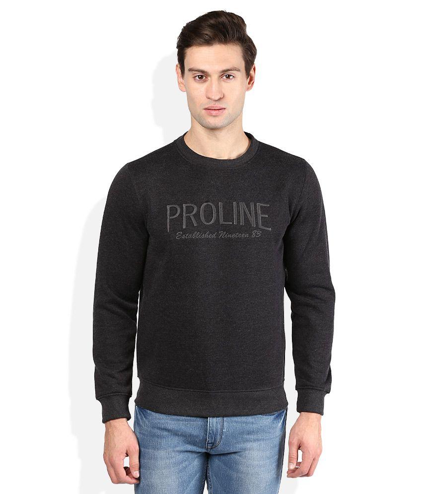 Proline Black Solid Sweatshirt