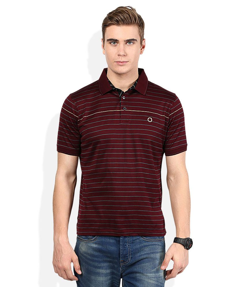 Proline Maroon Striped Polo T Shirt