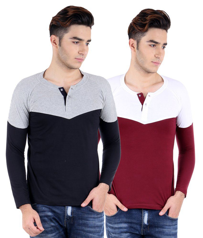 Big Idea wht-mrn &  gry-blk Henley T-shirts Pack Of 2