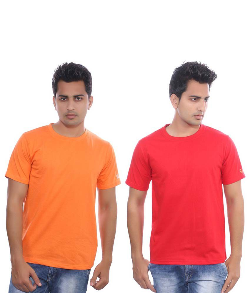 Fabilano Orange & Red Cotton T-shirt Combo Of 2