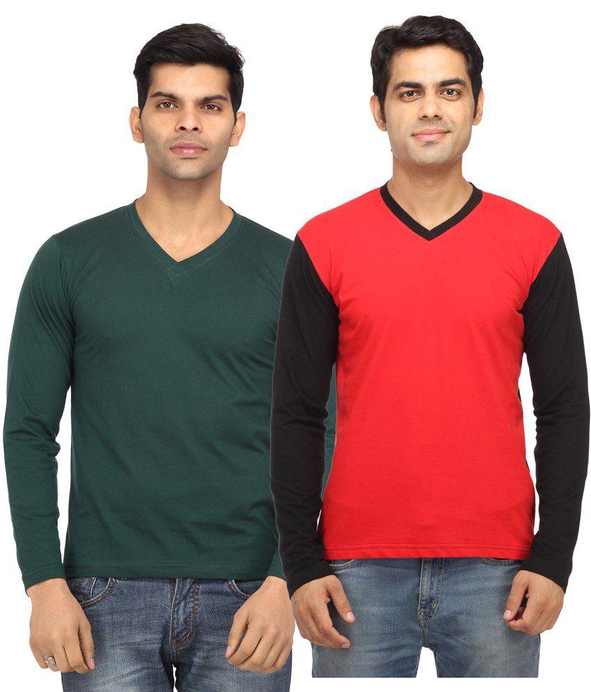 Leana Green Full Sleeves Basics Tshirt - Pack of 2