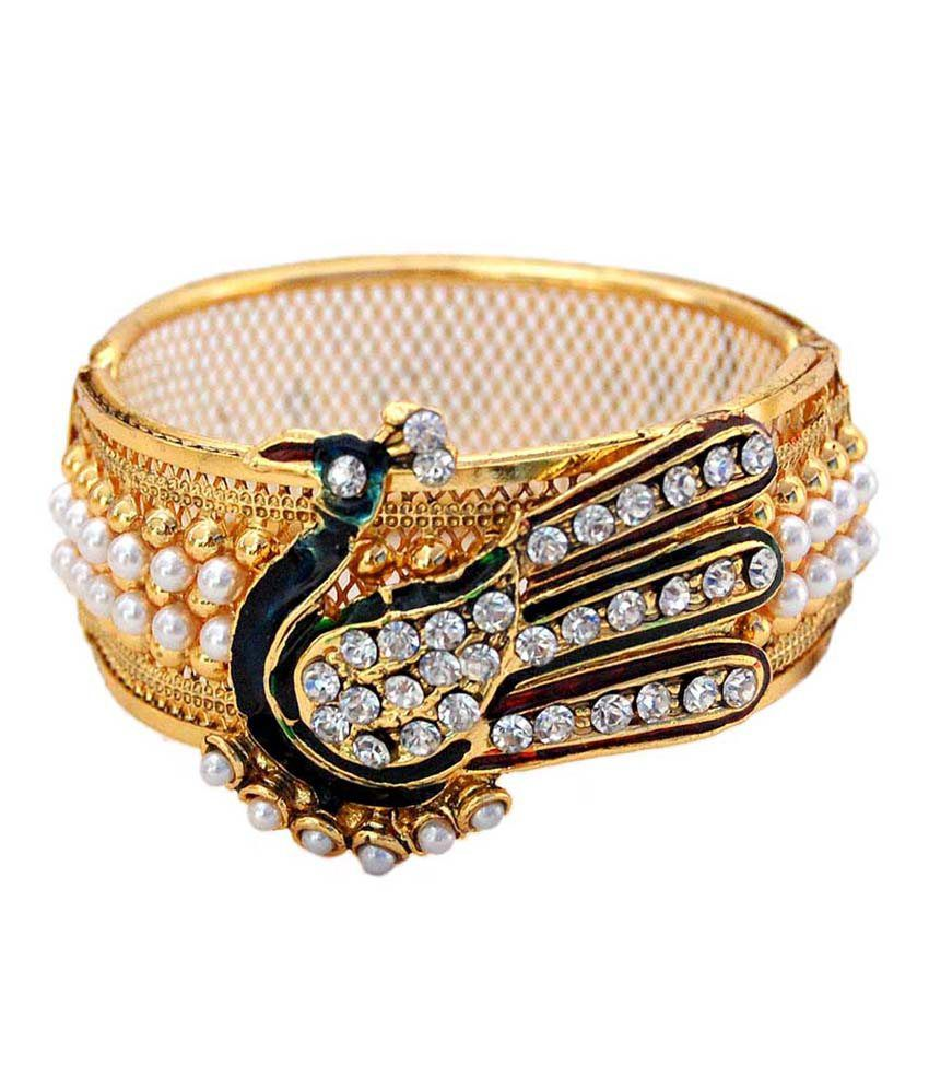 Sagun Art & Jewellers Mayur Design Heavy Look Gold Plated Pearl Cuff Bracelet with Multicolor Meena & American Diamond