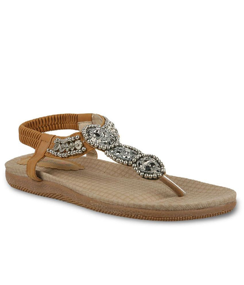 Absolute Mart Brown & Silver Sandals