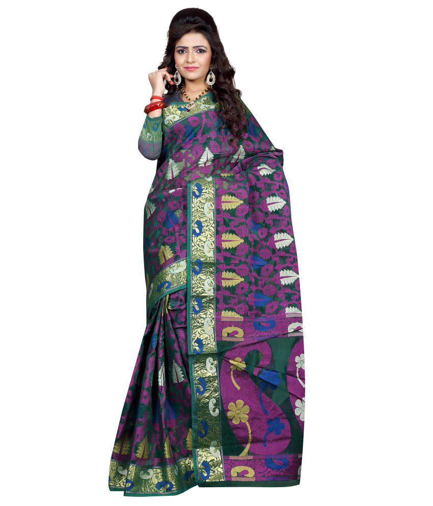 Indian E Fashion Green Silk Saree