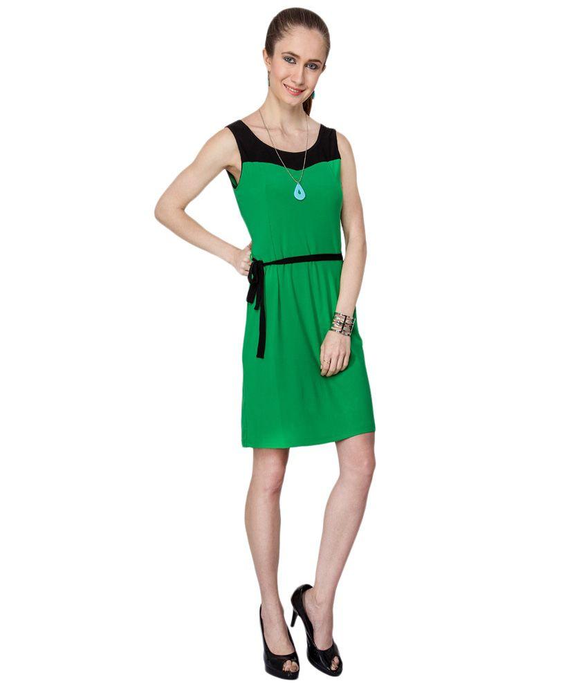 4e40ca2fbf Kaxiaa Green & Black Casual Dress Kaxiaa Green & Black Casual Dress ...