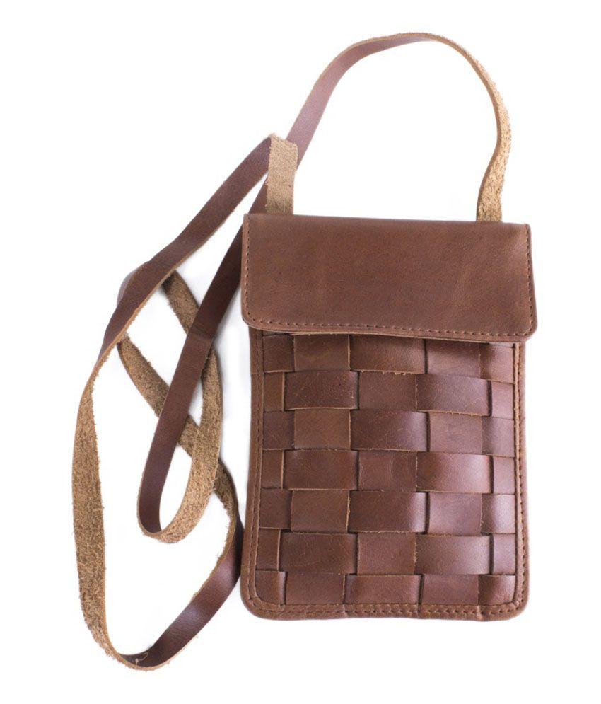 Tee Ess Brown Leather Sling Bag