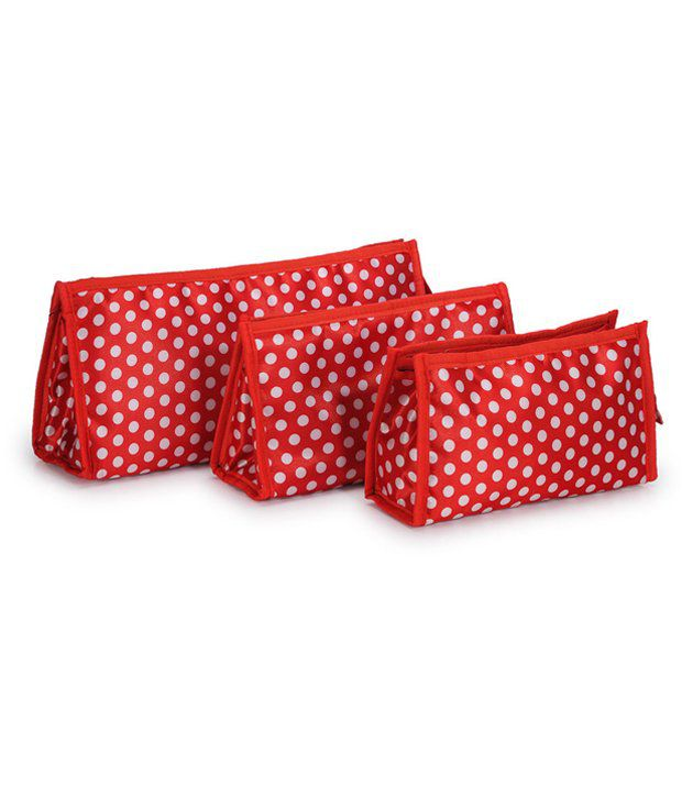 Bendly Red Multipurpose Pouches - Set Of 3