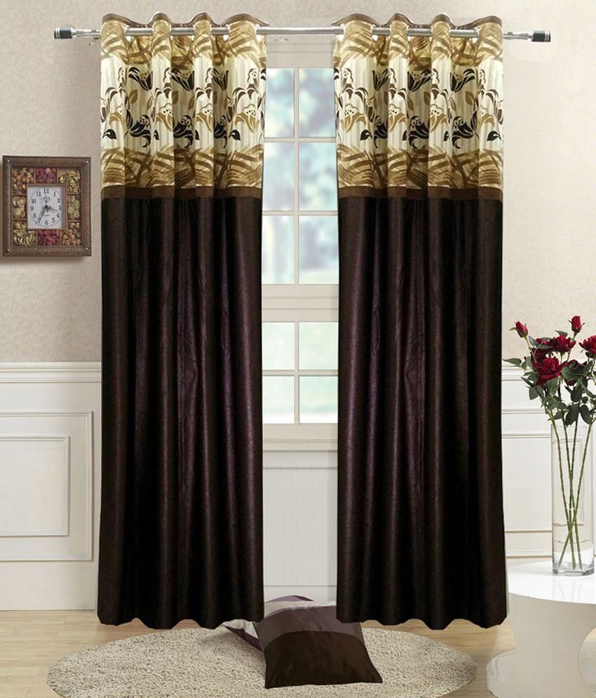 Homefab India Set of 2 Door Eyelet Curtains Solid Brown