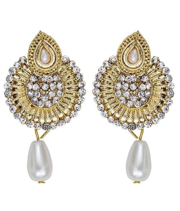 Mitthi Jewels Party Wear Golden Indian Pearl Earrings