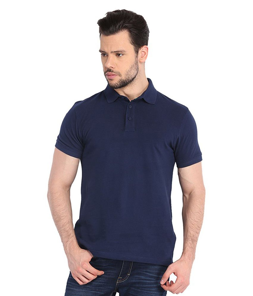 Nimya Navy Half Sleeves Basics Polo T-shirt