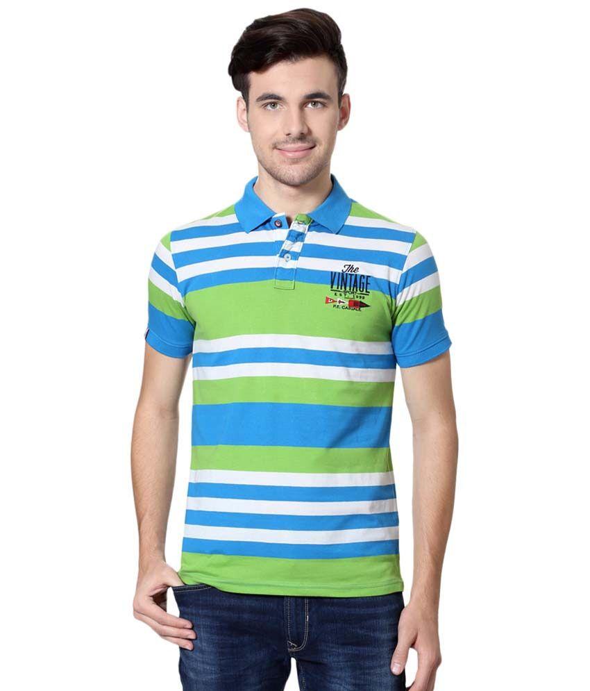 Peter England Blue & Green Casual T Shirt