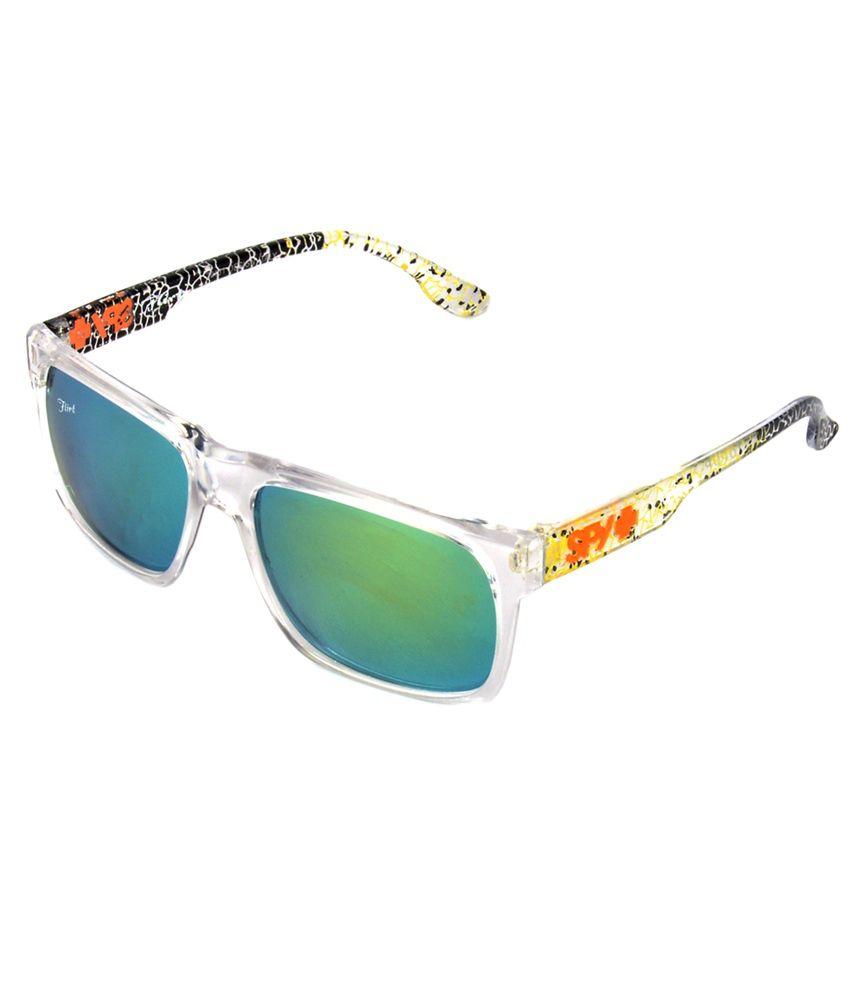 Red Knot Green & Yellow Rectangular Sunglasses for Men
