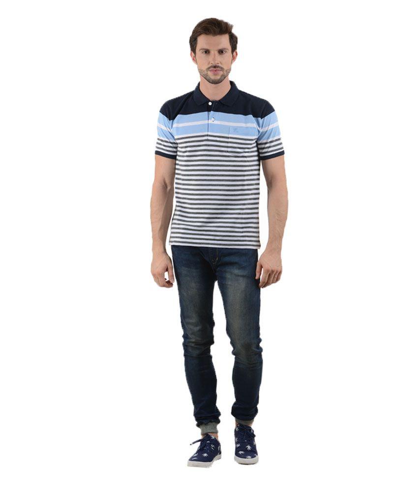 Tmo White Half Sleeves Stripers Wear Polo T-shirt