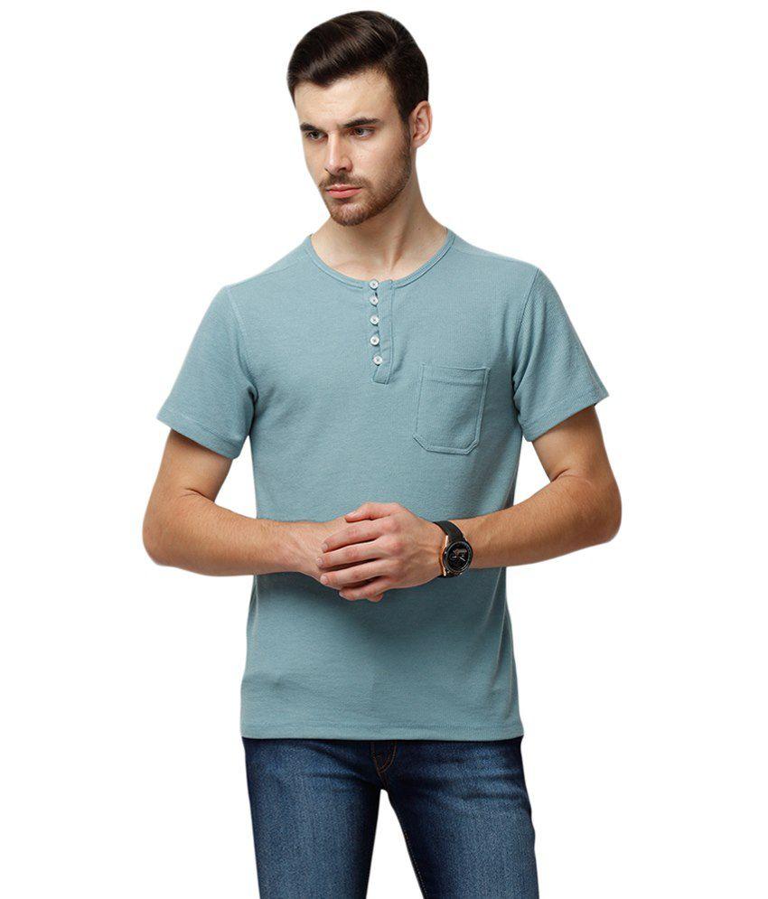 Yepme Blue Ansell Henley Half Sleeve T Shirt