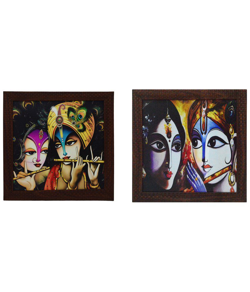 eCraftIndia Appealing Multicoloured Pack of 2 Framed UV Art Print Paintings