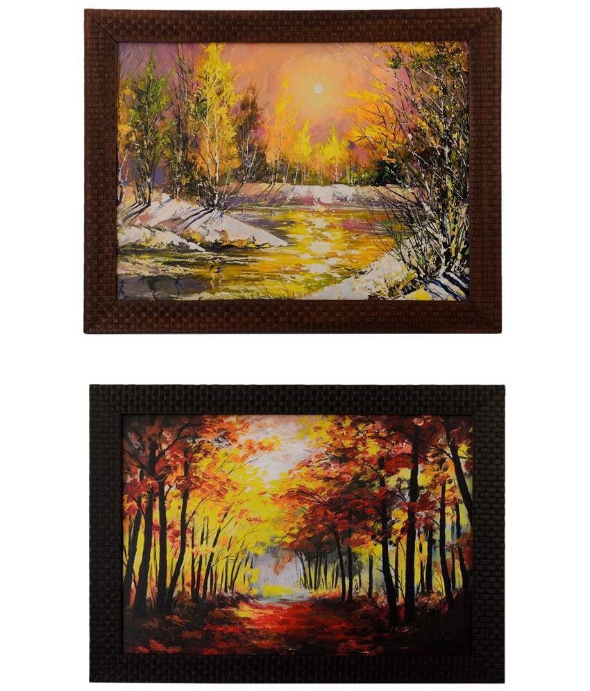 eCraftIndia Red & Yellow Pack of 2 Framed UV Art Print Paintings