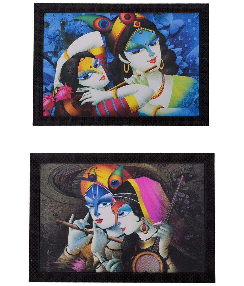 eCraftIndia Vibrant Multicoloured Pack of 2 Framed UV Art Print Paintings