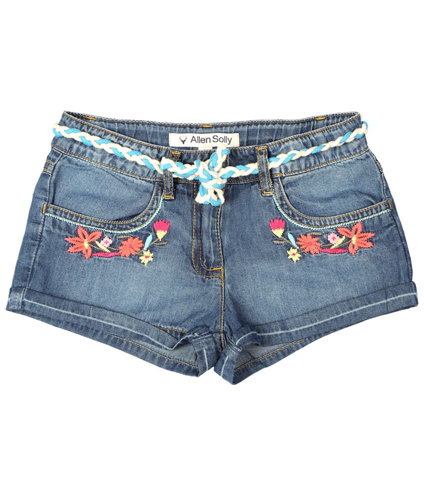 Allen Solly Blue Embroidered Shorts