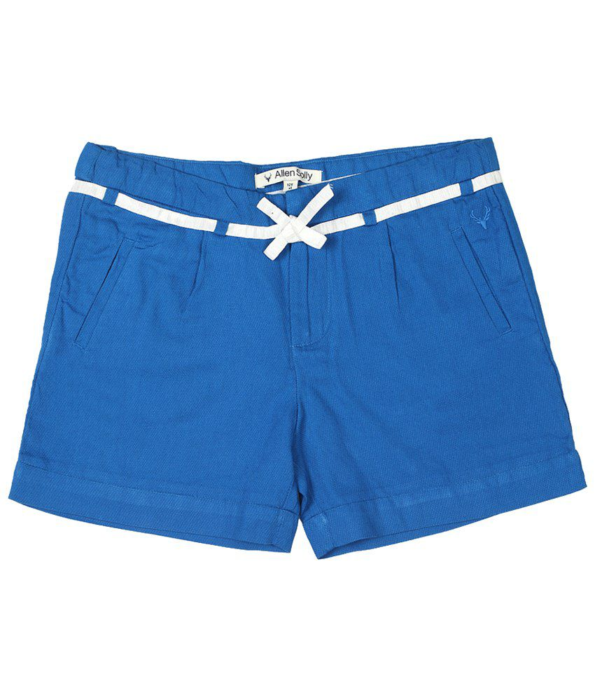 Allen Solly Blue Solid Shorts