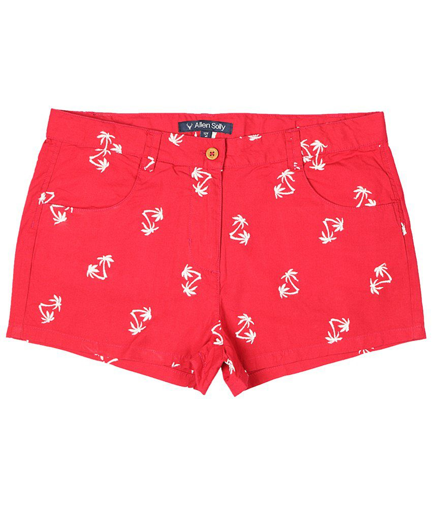 Allen Solly Red & White Embroidered Shorts