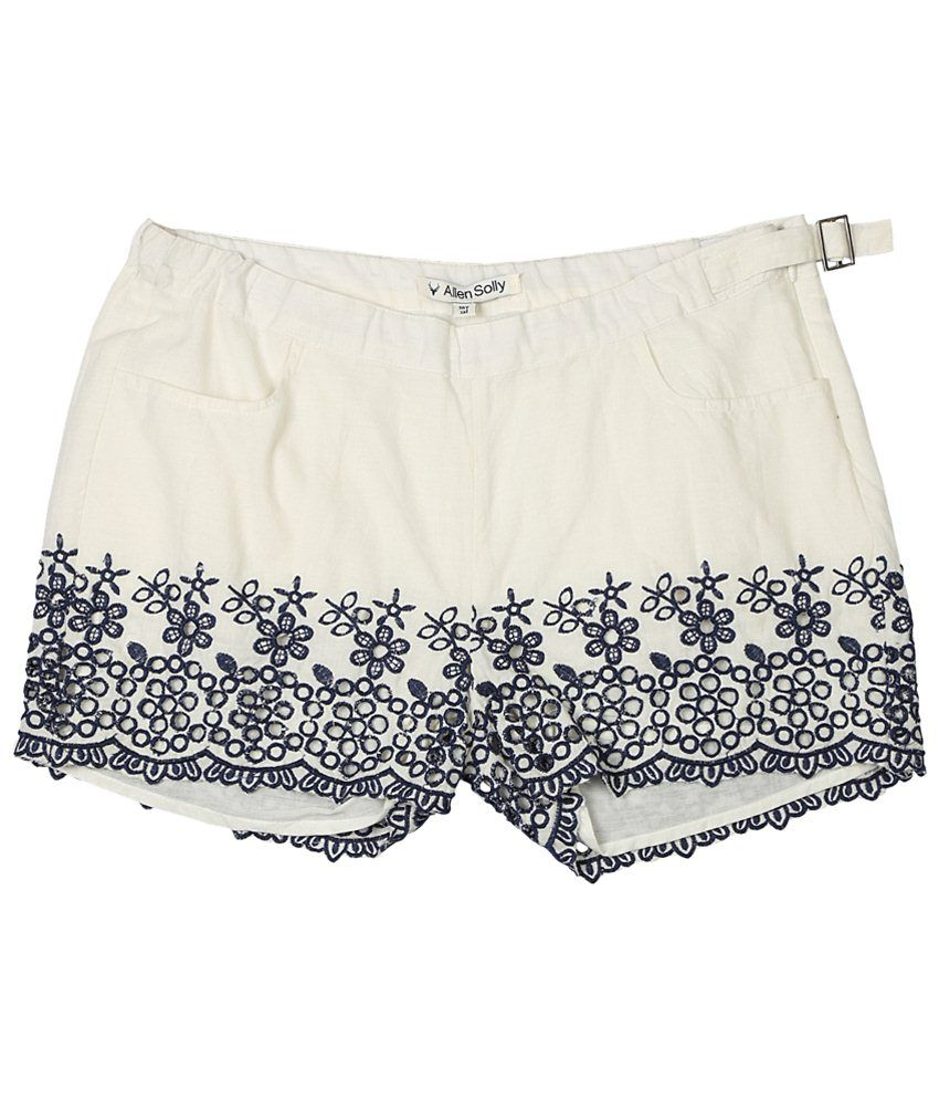 Allen Solly White & Navy Blue Embroidered Shorts