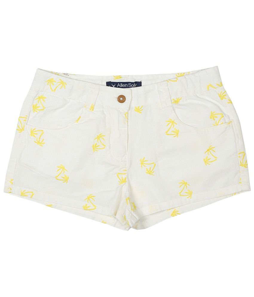 Allen Solly White & Yellow Embroidered Shorts