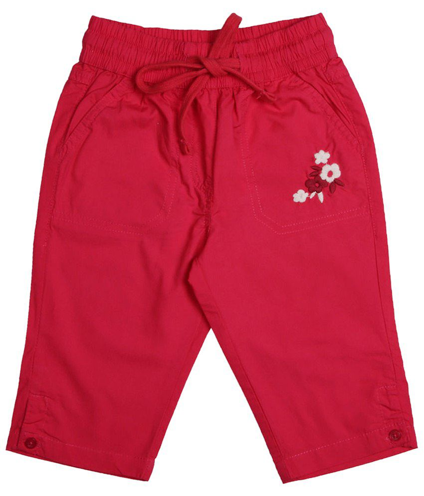 Chalk by Pantaloons Red Solid Capris