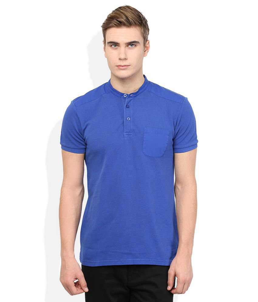 United Colors Of Benetton Blue Henley Neck T shirt