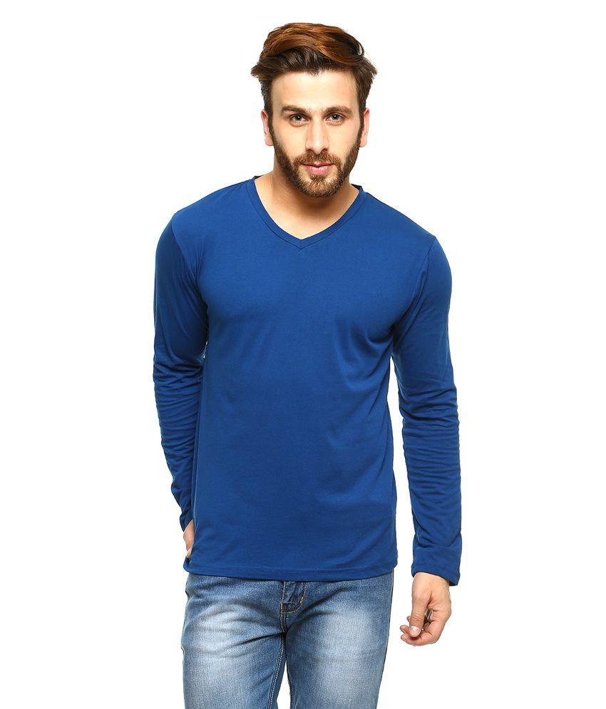 Gritstones Blue Full Sleeves Basic Polo T Shirt