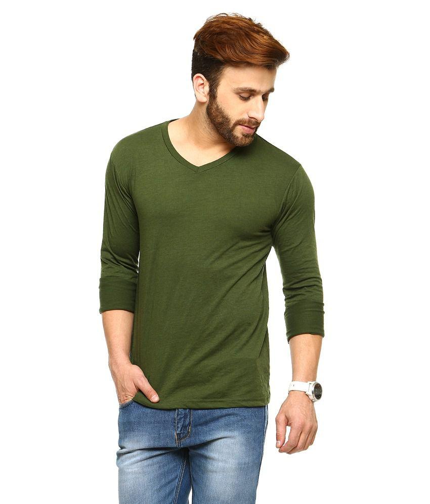Gritstones Green Full Sleeves Basic Polo T Shirt
