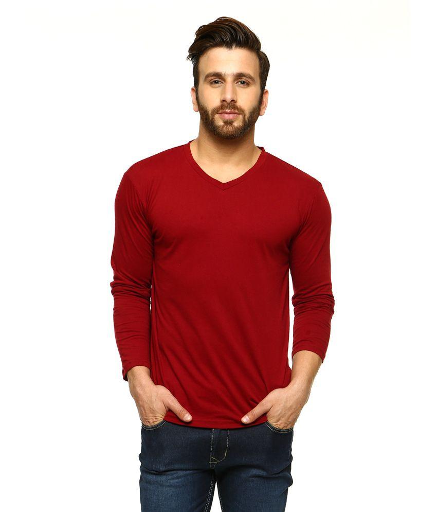 Gritstones Maroon Full Sleeves Basic Polo T Shirt