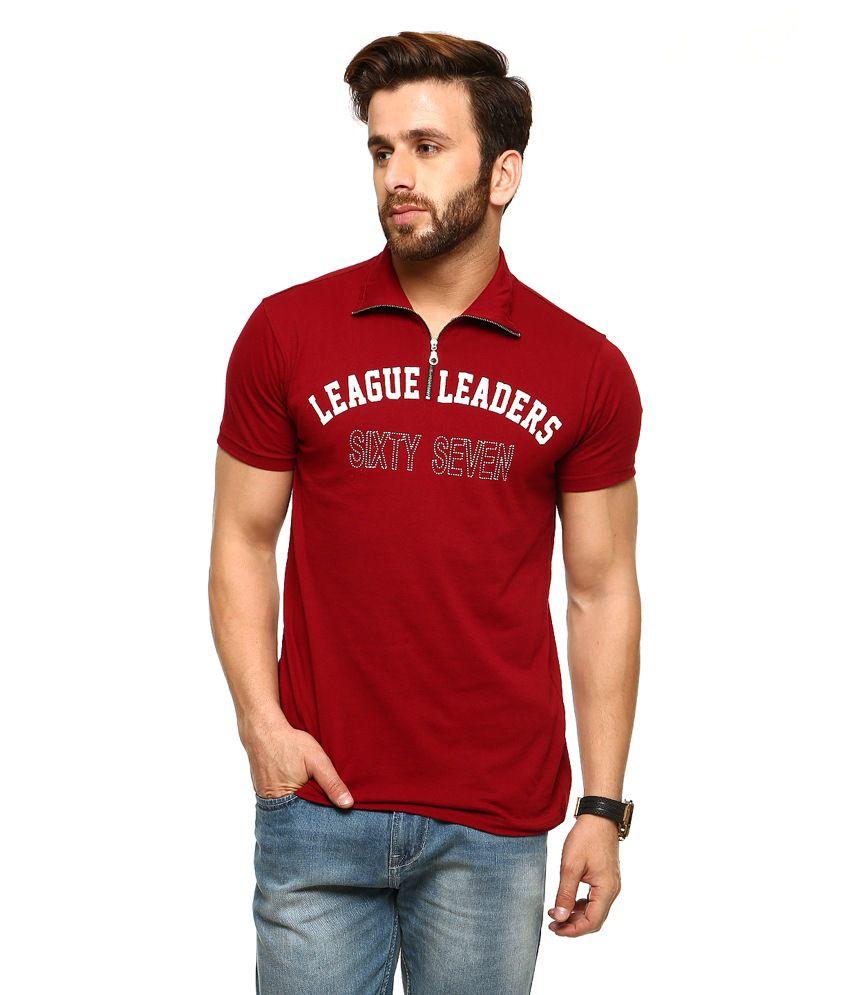 Gritstones Maroon Half Sleeves Basic Polo T Shirt