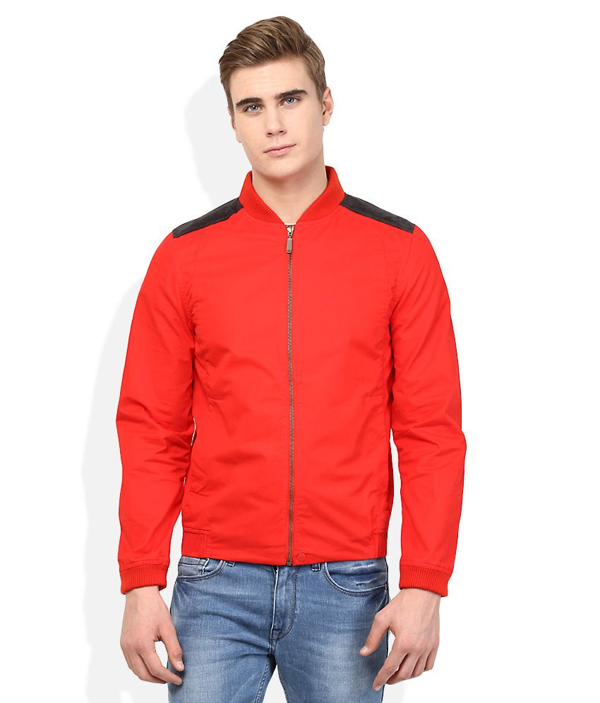 United Colors Of Benetton Red Solid Bodycon Jacket