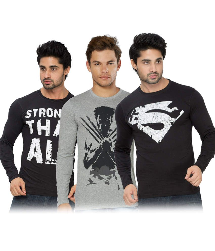 Alan Jones Printed Black Grey Full Tshirt-Pack Of 3