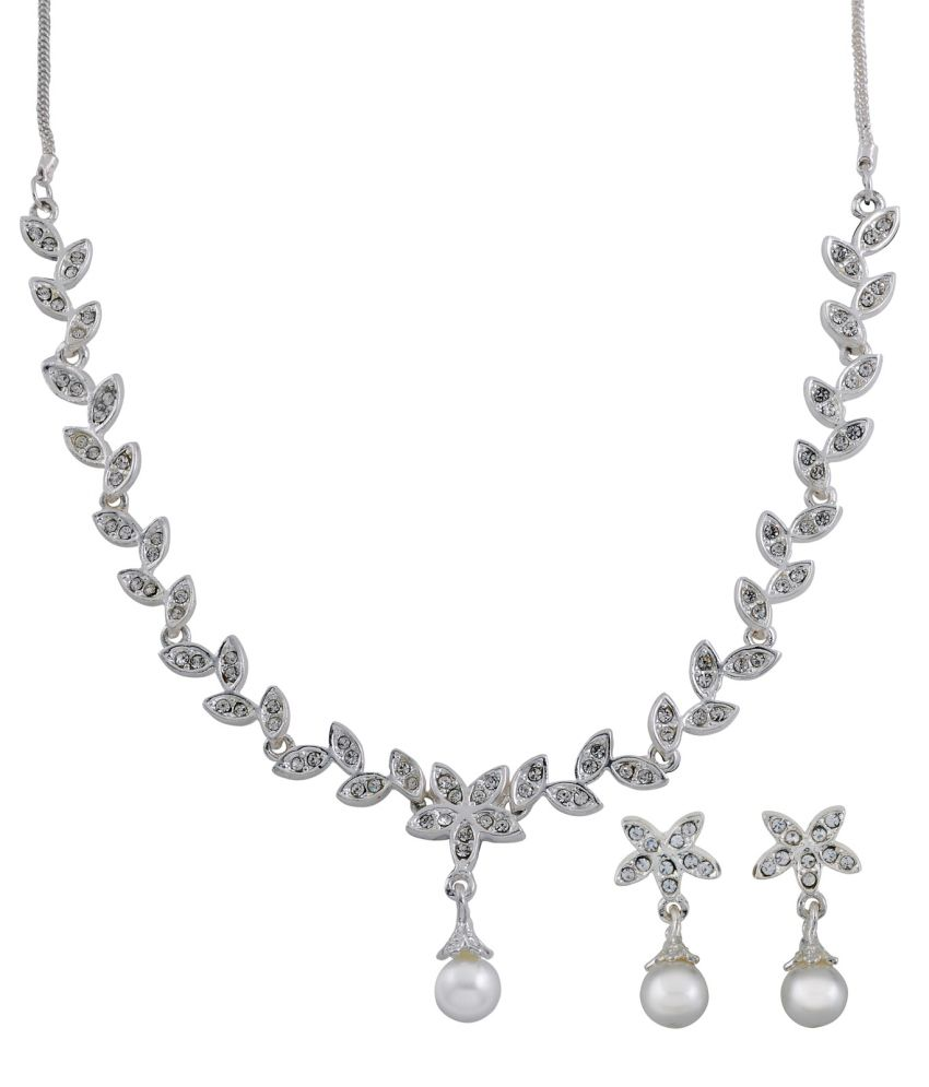 Oleva Silver Alloy Austrian Diamonds Necklace Set