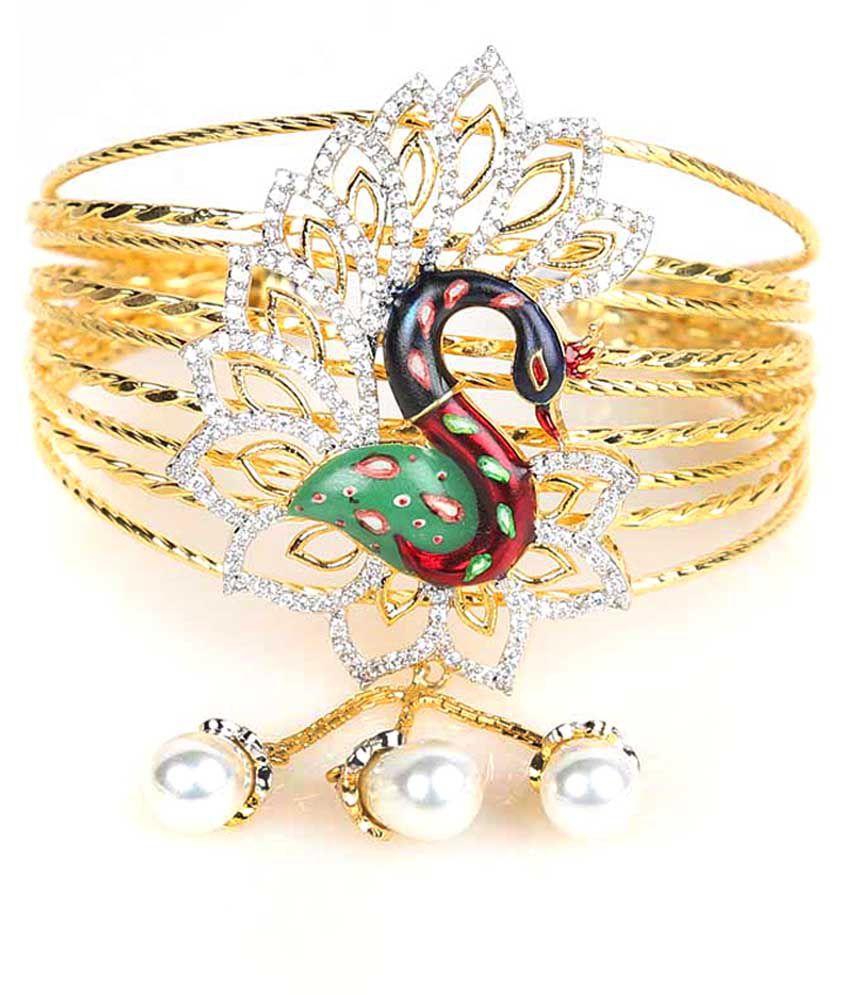 Handluv Pretty Peocock Stlye American Diamond Bracelet