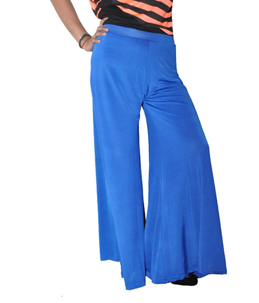 Round Off Blue Polyester Palazzos