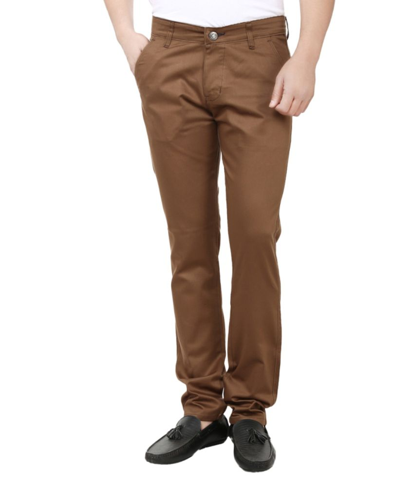 Ben Carter Brown Slim Fit Formal Chinos