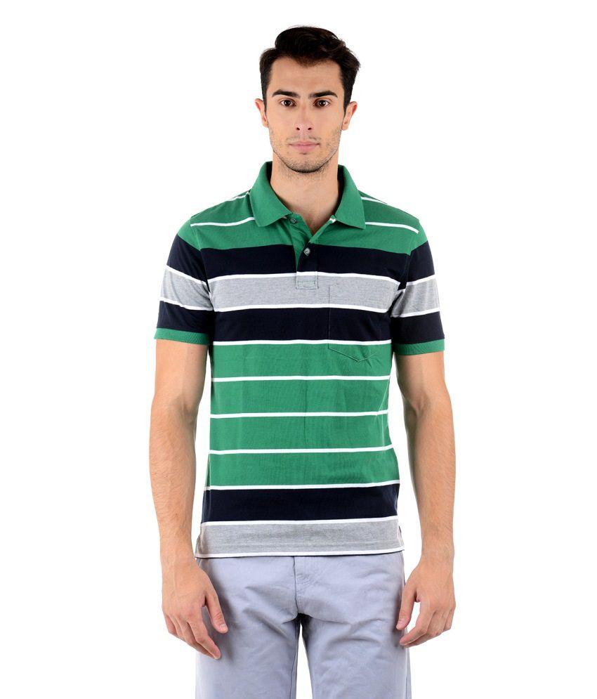 Keywest Green Half Stripes Polo T-shirt